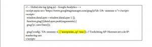 Google analytics header script AVG GDPR